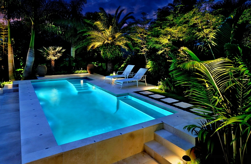Gorgeous lighting can transform even a small pool deck into a captivating escape