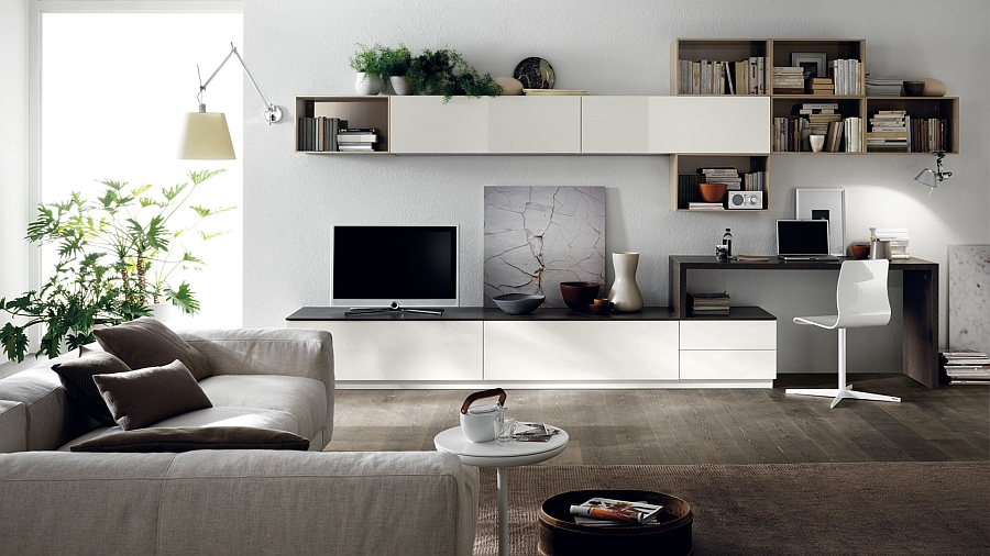 Gorgeous living room compositing that saves up on space Posh Minimalist Living Spaces Charm With Geometric Lines And Sleek Styling