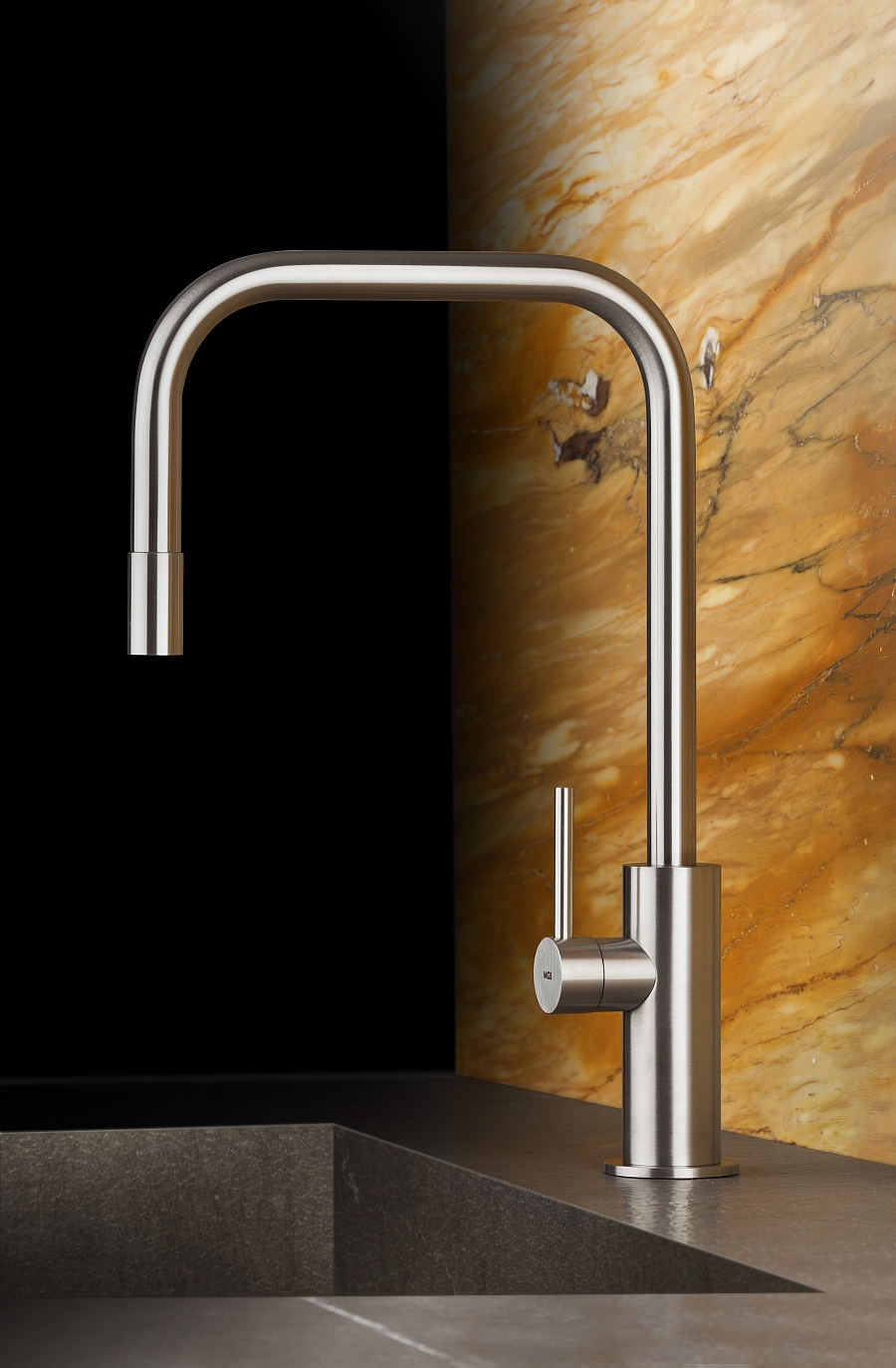 View In Gallery Gorgeous Stainless Steel Faucet With Sleek And Curvy Design