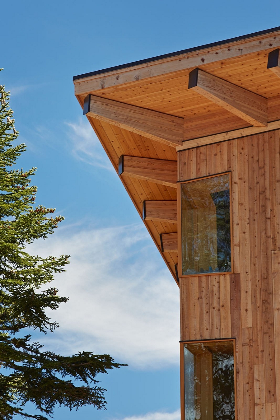 Gorgeous wooden exterior of the Crow's Nest Residence