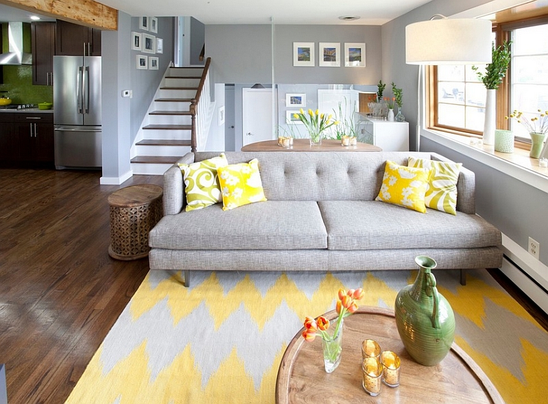 View In Gallery Gray And Yellow Living Room Seems Both Cozy Contemporary