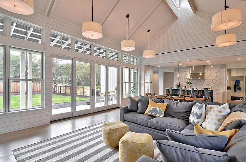 Grey with yellow pops brings refined elegance to the farmhouse style living room