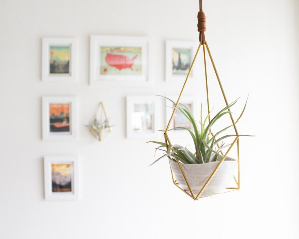 Hanging brass air plant holder from handmade sammade