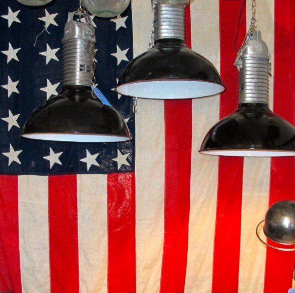 Hanging flag and industrial lights