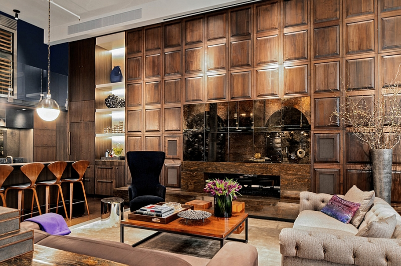 Hicks pendant becomes a part of the living room visual in this stylish Soho Loft