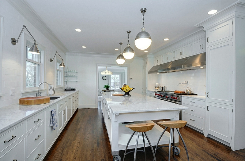 View in gallery hicks pendants add a hint of metallic sheen to this transitional kitchen