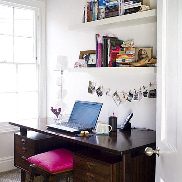 Home office with above-desk storage