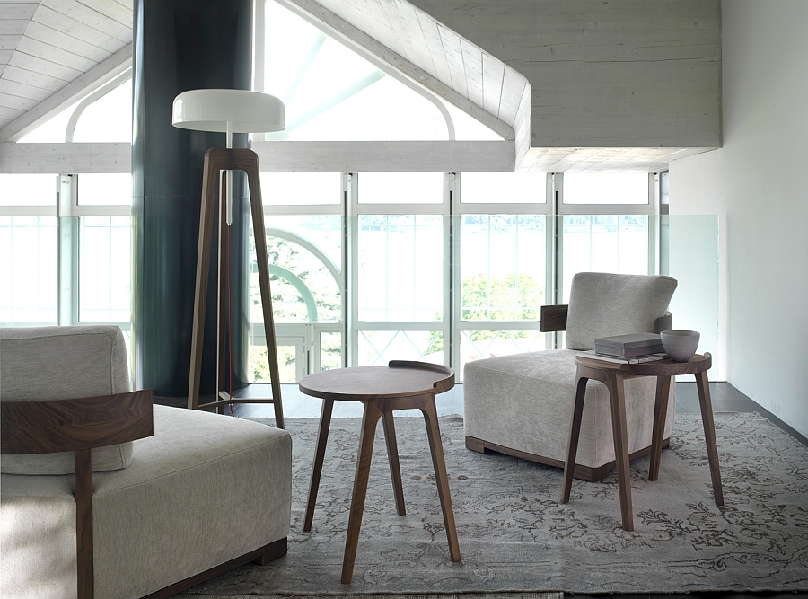 Imposing Pileo Floor Lamp with a white shade