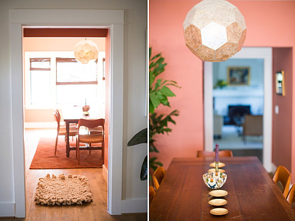 Interesting details in a salmon pink dining room