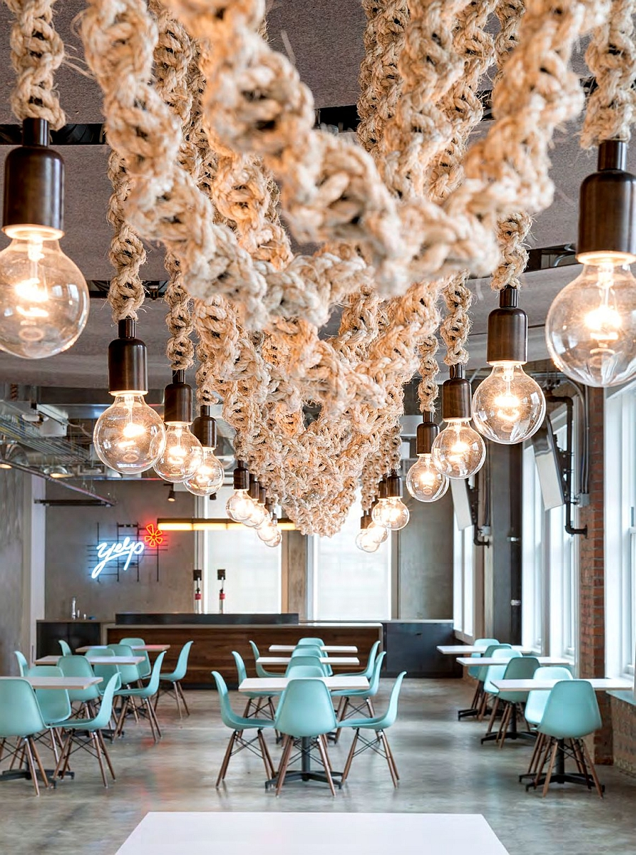 Interesting lighting additions and the Eames chairs give the Yelp office a Midcentury Modern Appeal