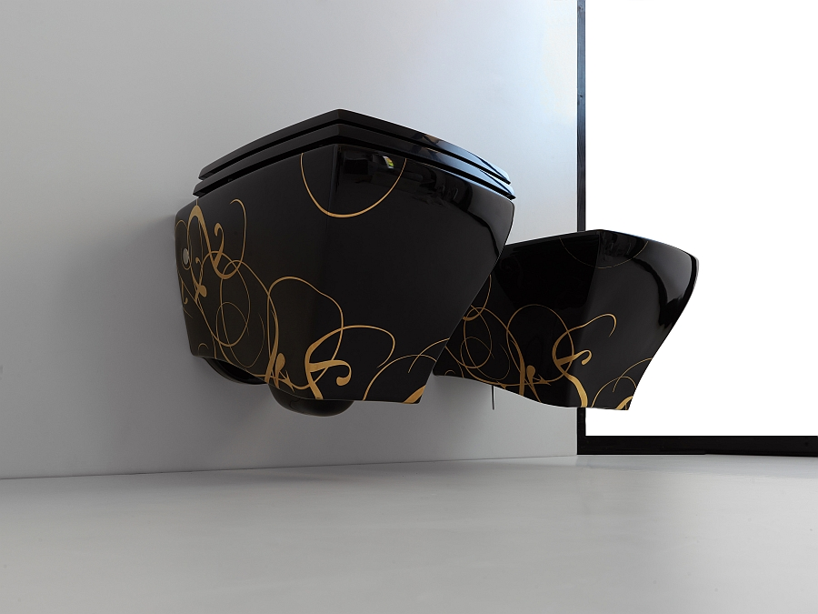 Jazz collection of sanitaryware in black with trendy pattern