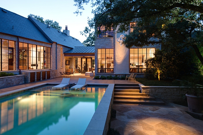 Keeping the poolside landscape design simple and minimal