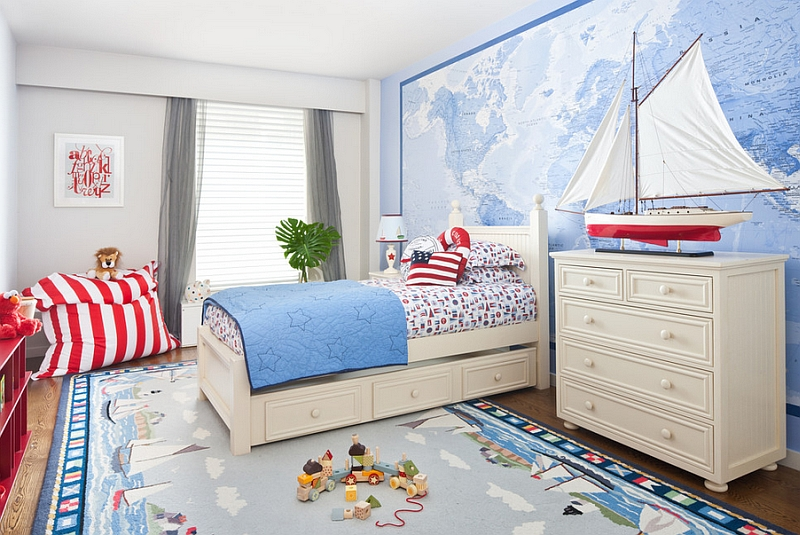 Kids' bedroom that can be altered into an adult space with nautical theme