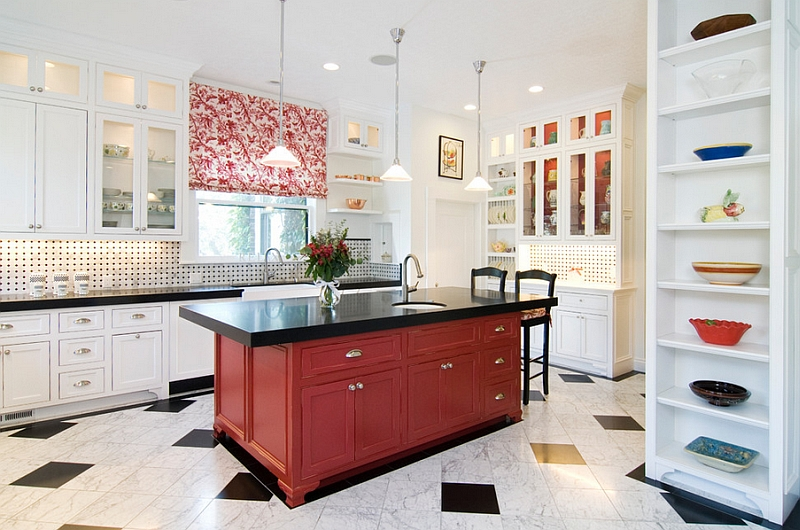 Kitchen island in black and red steals the show here