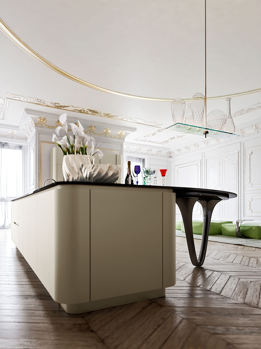 Kitchen island in gold and black