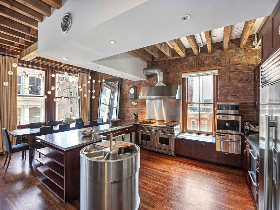 Beautiful View In Gallery Kitchen With Stainless Steel Surfaces Gives The New York  City Apartment An Industrial Appeal