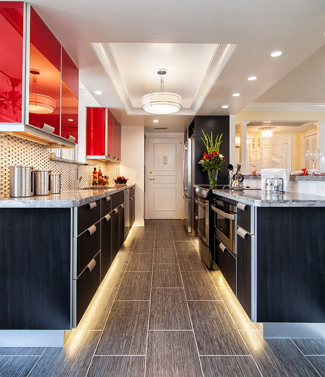 Under Kitchen Cabinet Lighting Ideas: Red, Black And White Interiors: Living Rooms, Kitchens