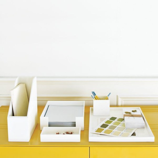 Lacquer office items from West Elm