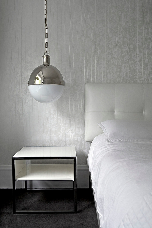 Large Hicks Pendant light used as cool bedside lighting