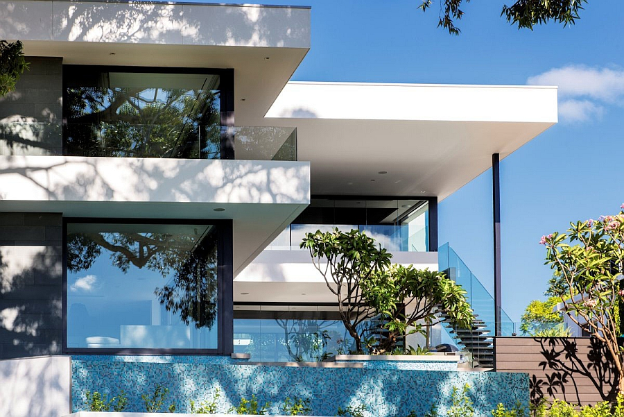 Large glass windows offer sweeping views of the exterior