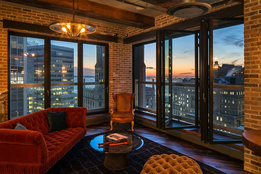 Large glass windows offer unabated views of NYC