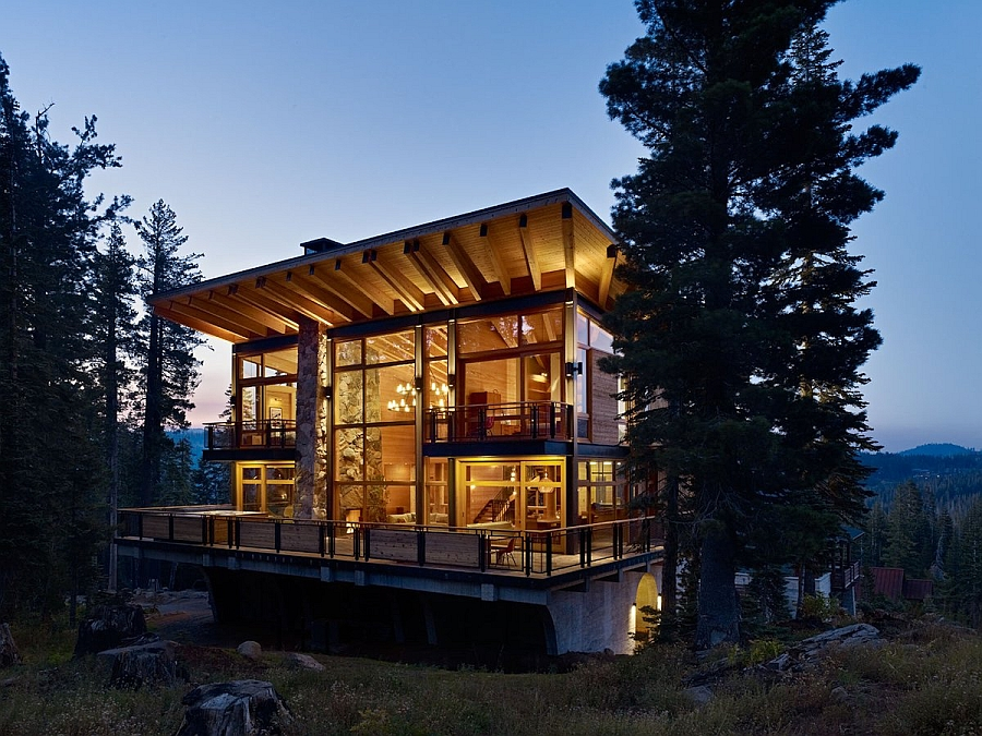 Large glass windows that open up towards the forest blend privacy with scenic views Classic Ski Cabin Design Meets Contemporary Luxury At The Crow's Nest