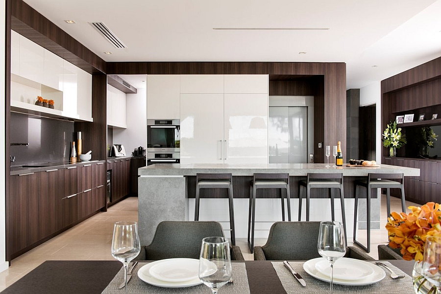Large kitchen with a spacious island and serving area