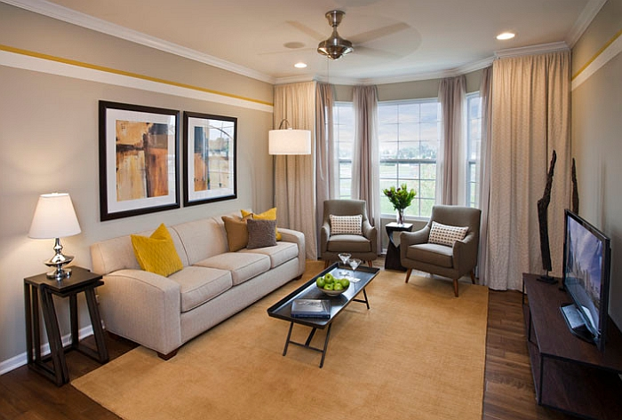 Gray and yellow living rooms photos ideas and inspirations for Yellow modern living room ideas