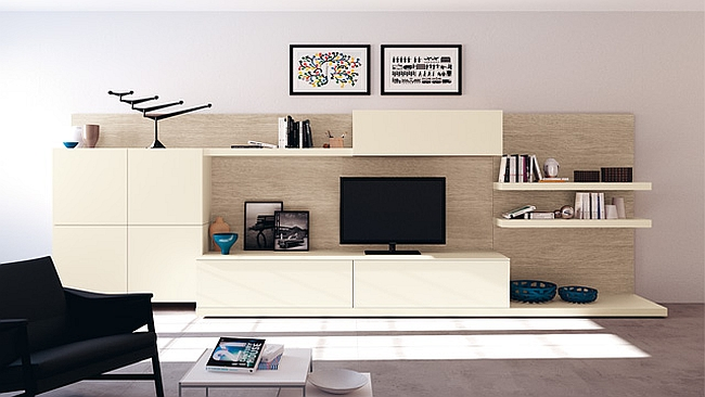 Living area composition with a dynamic wall unit and a Khaki Oak wall cladding