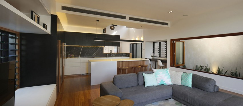 Living room and the kitchen in an open floor plan
