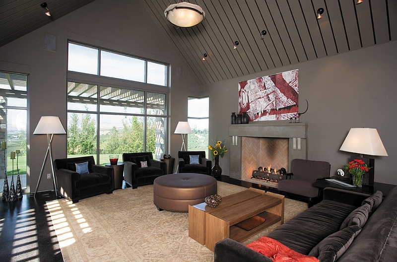 Living room in gray looks sophisticated and inviting