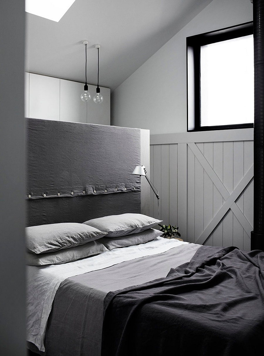 Lovely bedroom in monochromatic hues and simple design