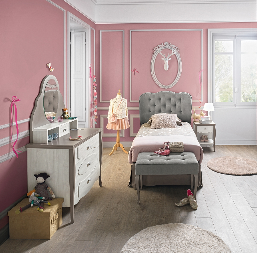 Lovely use of gray along with pink to shape the dreamy Demoiselle bedroom from Gautier
