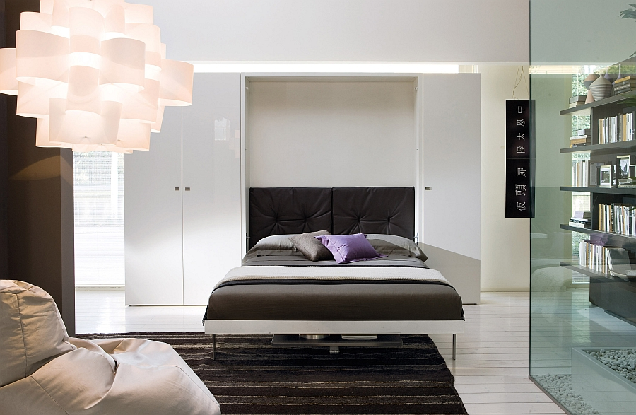 Luxurious bed that easily dissapears into the wall when not in use
