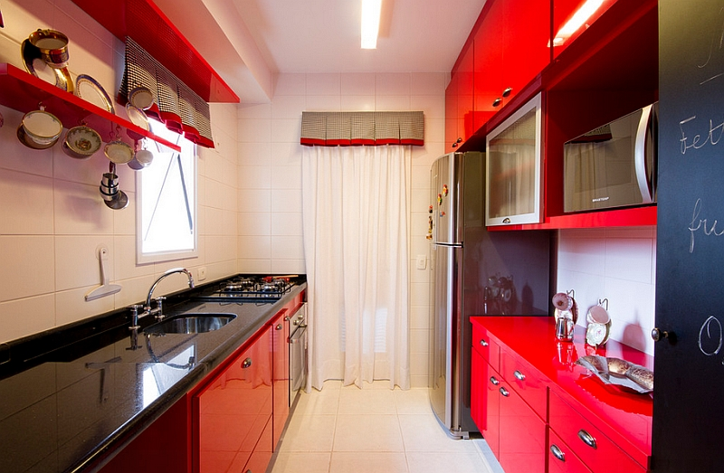 Make the black and red color scheme work even in a tiny kitchen