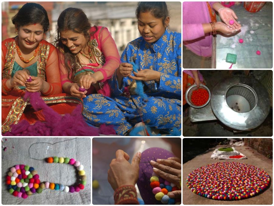 Making of the felt ball rugs by artisans in Nepal