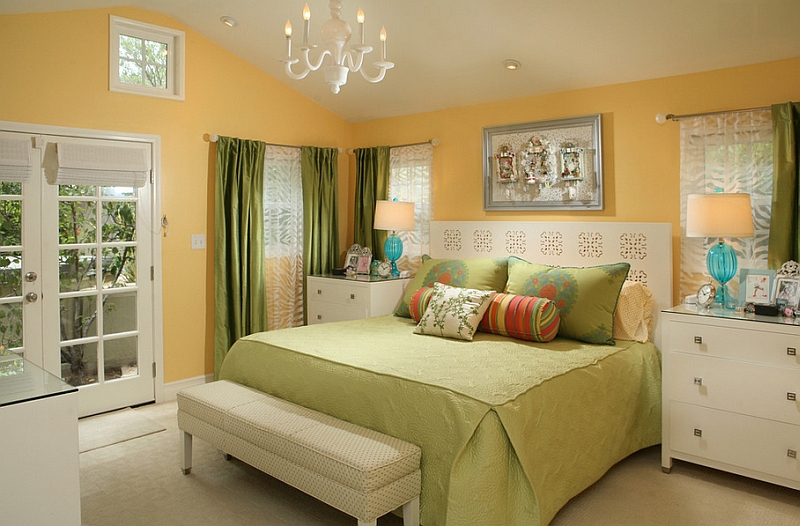 Master bedroom in yellow and white