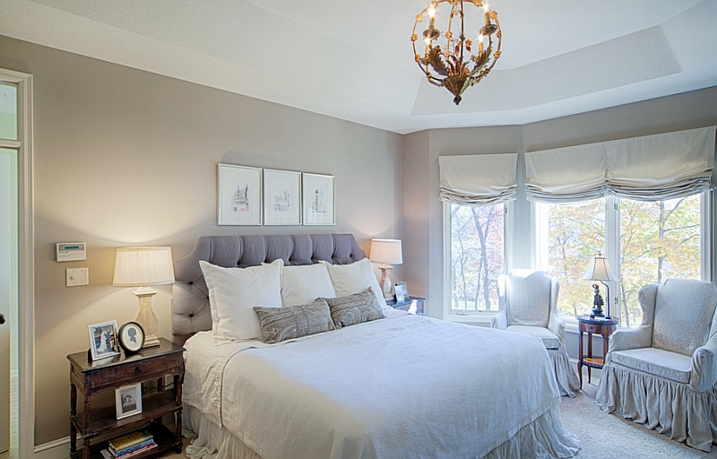 Master bedroom with natural linen fabrics and a neutral color scheme
