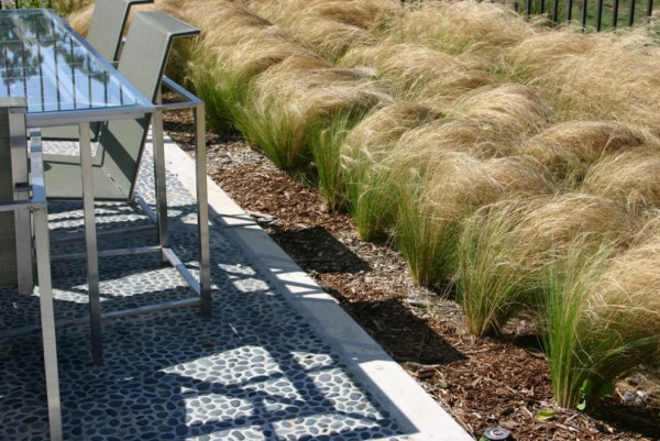 Mexican feather grass embellishes an outdoor dining space