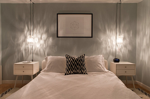 Minimalist art in a modern bedroom