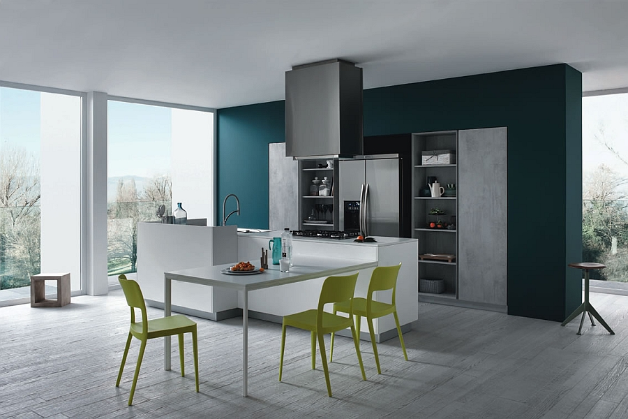 Minimalist kitchen with an extendable dining table along with the kitchen island