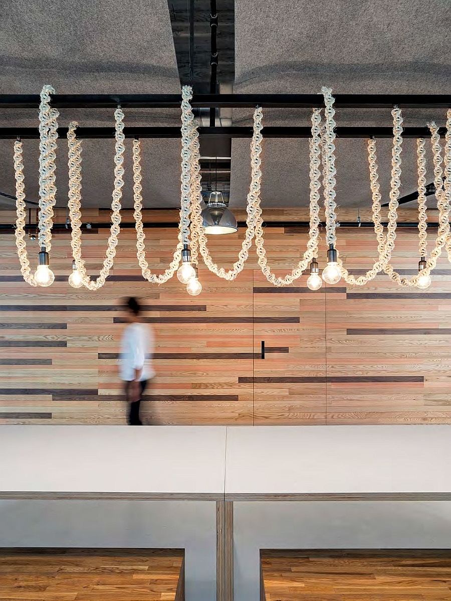 Minimalist yet stylish lighting adds to the charm of the Yelp headquarters