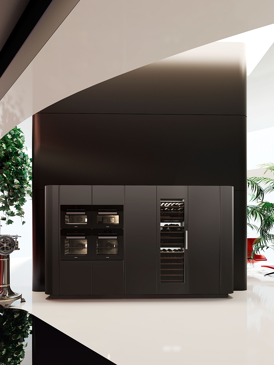 Modern appliances combined with the sleek kitchen in a stylish fashion