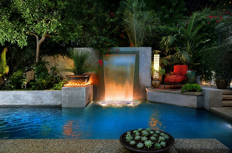 Contemporary Backyard Waterfalls : Modern cascade garden pool for the cool contemporary home