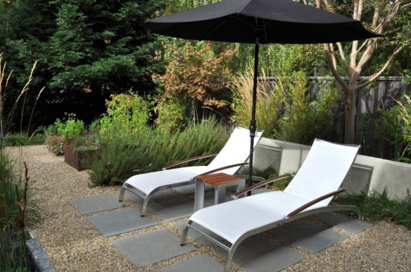 Modern lounging area with umbrella