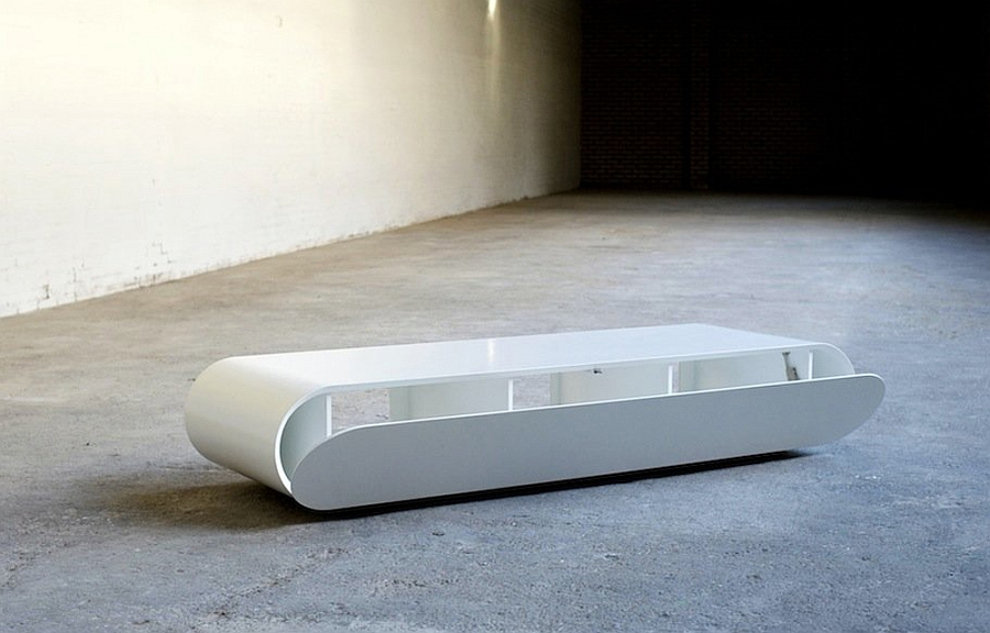 Modern minimlaist media console in white