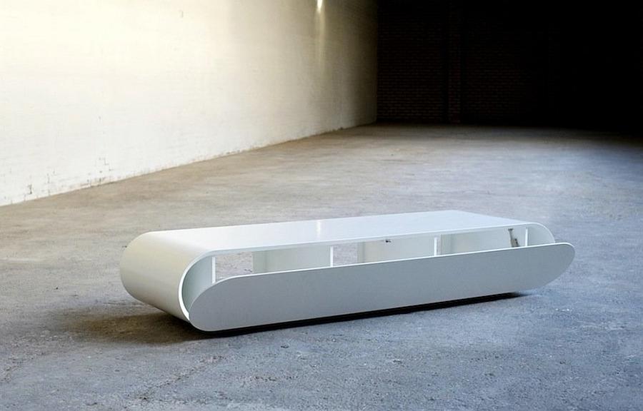 Modern minimlaist media console in white