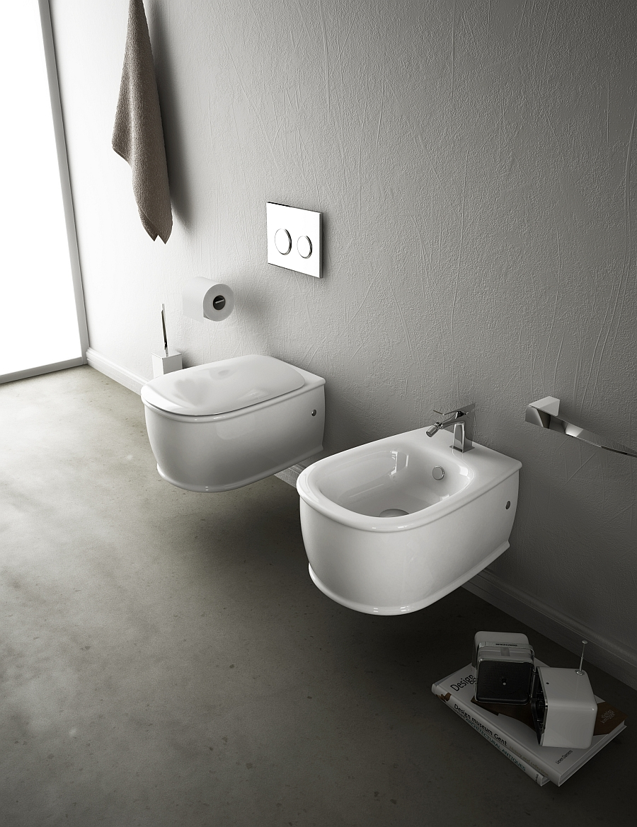 Modern wall-hung wc for the bathroom with limited space