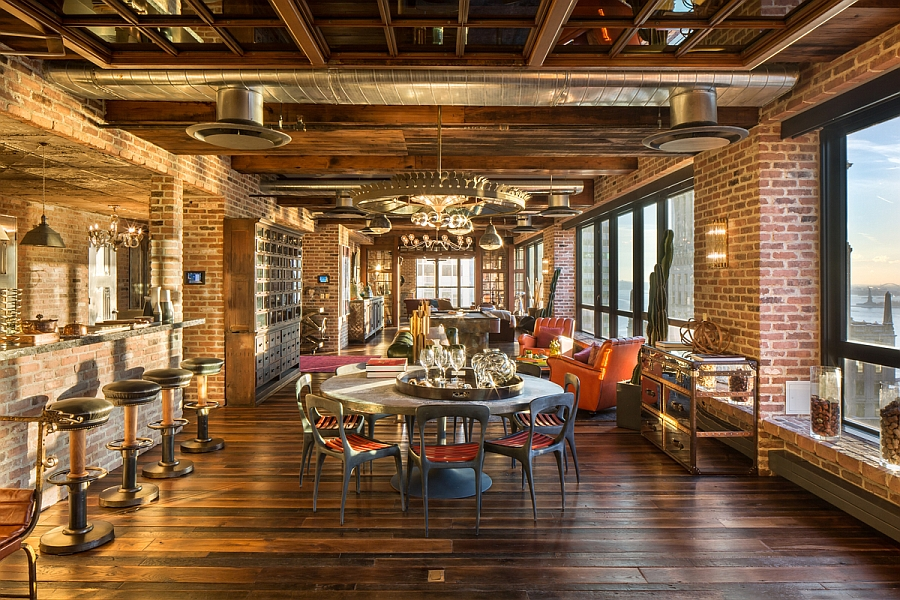 NYC Penthouse living room combines the vintage, rustic and industrial elements