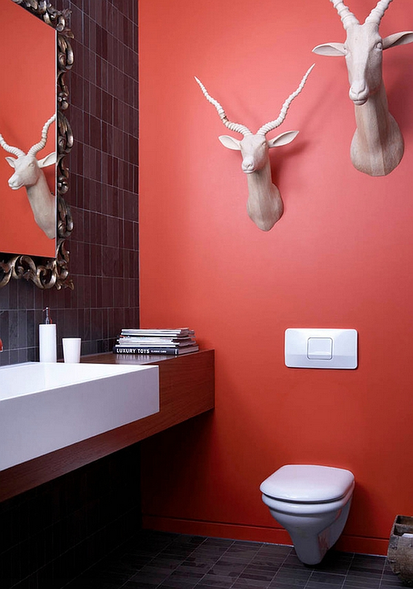 Non-glossy finishes of both red and black are ideal for eclectic spaces